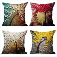 ingrosso murales eco friendly-Fodera per cuscino vintage a forma di fiore Mural giallo rosso Albero Wintersweet Cherry Blossom Copricuscino decorativo per la casa