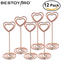 Wholesale black wedding cards - 12pcs Rose Gold Heart Shape Photo Holder Stands Table Number Holders Place Card Paper Menu Clips For Wedding Party Decoration