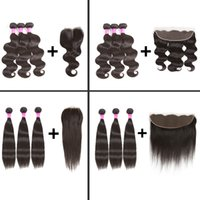 Wholesale Mix Deals - Brazilian Virgin Hair Body Wave Straight Human Hair Weave Bundles with 4X4 Lace Closure and 13x4 Lace Frontal Weaves Closure with bunde deal
