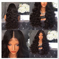 Wholesale cheap synthetic lace wigs hair - Sexy Cheap Middle Part Body Wave Synthetic Lace Front Wigs With Baby Hair Black Wig 180% Density Heat Resistant Wigs For Black Women