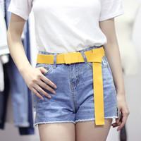 jeans coreanos morados al por mayor-2018 Nuevo Coreano Negro Amarillo Púrpura Rosa Ancho Automático de Lona Cinturón Femme de Punto Largo Jeans Cinturones para Mujeres Pretina