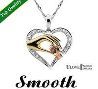 Wholesale baby jesus - 925 Sterling Silver Hand for Mom and Baby Heart Pendants Pingente Necklaces & Pendants Jesus Pingentes Silver new 2016 Ulove
