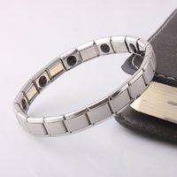 bijoux en titane santé achat en gros de-Bracelet magnétique anti-fatigue en acier inoxydable Bijoux en acier au titane pour hommes et femmes Bracelet magnétique en énergie pour la santé Bracelet