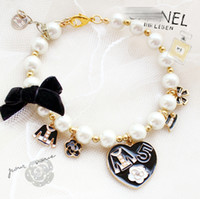 Wholesale jewelry dogs for sale - Group buy adjustable dog accessories necklace luxury big pearl heart shaped pendant small animal jewelry sparkly pet accessories