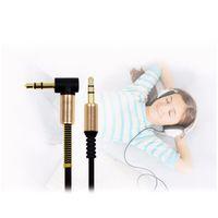 iphone flach großhandel-2018 3,5 mm Audio-Zusatzkabel, flach, 90 Grad rechts, AUX-Kabel mit Stahlfederentlastung für Kopfhörer, iPods, iPhones und Autoradios