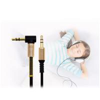 auriculares mm al por mayor-2018 Cable de audio auxiliar de 3.5 mm Cable plano Cable derecho AUX. De 90 grados con alivio de resorte de acero para audífonos iPods iPhones Estéreo para autos en el hogar