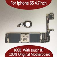 разблокировать iphone s оптовых-Для iphone 6 S 16 Г 64 Г 128 ГБ Материнская Плата с Touch ID с Отпечатком Пальца Оригинал Разблокирована для iphonbe 6 S Логическая плата Бесплатная Доставка