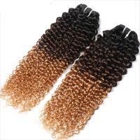 pacote de cabelo castanho cabelo humano venda por atacado-Brasileiro Virgem Humano Trama Do Cabelo Virgem Ombre 1b / 4/27 Marrom Loiro Kinky Curly Tece Duplo Desenhado 100g Um pacote