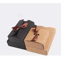 картонные коробки оптовых-4 Размер черный коричневый крафт-бумаги коробки с бантом выпечки пищи картонная коробка печенье Mooncake шоколад упаковка коробки для хранения партии пользу коробка