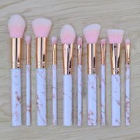 Wholesale Bb Professionals - Newest Hot Sale 10pcs Marble Makeup Brush Professional MakeUp Brushes Foundation BB Cream High Quality Free Shipping