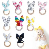 Wholesale wooden teething rings wholesale - Infant Baby Teethers Teething Ring Fabric Wooden Teething Training Crinkle Material Inside Sensory Toy Natural Teethers Bell GGA405 120PCS