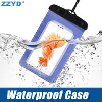iphone yüzme davası toptan satış-ZZYD Su Geçirmez Kılıf Çanta PVC Koruyucu Evrensel Telefon Kılıfı Için Pusula Çanta Ile Dalış Yüzme iP 7 8 X Samsung S8