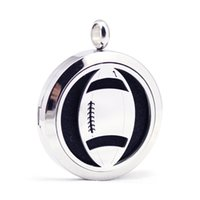 Wholesale aroma circle - 30mm stainless steel American football aroma aromatherapy essential oil diffuser necklace