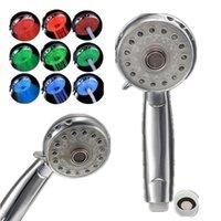 Wholesale Single Led Price - Lowest Price Adjustable 3 Mode 3 Color LED Shower Head Temperature Sensor RGB Bath Sprinkler Bathroom Product