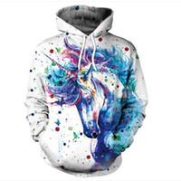 hoodie da cópia do unicórnio venda por atacado-Novos Homens Hoodies Big Burst Cavalo Padrão de cor nova 2018 Unicorn Printing Europa e nos Estados Unidos com Capuz