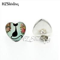 b5b762801 HER-0033 New Arrival Siamese Cat Stud Earrings Handmade Art Photo Glass Dome  Black Cat Heart Earring for Animal Lover. Supplier: autumngirl