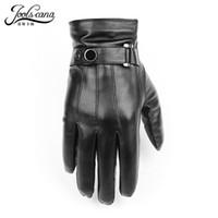 kışlık deri sürüş eldiven erkek toptan satış-JOOLSCANA top1gloves erkekler hakiki deri kış Duyusal taktik eldivenler moda bilek dokunmatik ekran sürücü sonbahar kaliteli