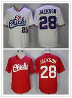 mischen sie hemdmänner großhandel-1986 Retro Memphis Chicks Bo Jackson Jersey Baseball Moive Herren 28 Bo Jackson Rot Weiß Genähte Baseball Shirts Günstige Mischungsreihenfolge