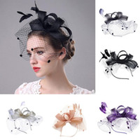 Wholesale black fascinator purple for sale - Group buy summer tops for women NEW Fashion Women Fascinator Mesh Hat Ribbons And Feathers Wedding Party Hat
