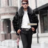 Wholesale Plus Size Mink Coats - Wholesale- 2017 Winter Jacket Male faux fur coat Warm Male fur collar Jacket Mens Mink Coat Plus Size free shipping