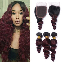 Wholesale red ombre hair for sale - Dark Roots J Burgundy Ombre Brazilian Hair Bundles with Closure Loose Wave Wavy B J Wine Red Ombre Closure and Weave Bundles