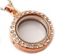 Wholesale 25mm crystal locket for sale - Group buy 25mm Glass Memory Lockets for Floating Charms Openable Pendant Necklace with Crystal Gold Silver Fashion Jewelry Christmas Gift