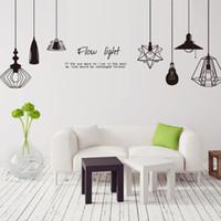 lámpara negra diy al por mayor-pegatina [SHIJUEHEZI] Negro Chandelier Sticker Vinyl DIY Wall Lamp Stickers para la sala de estar Fotografía Estudio Decoración