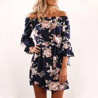 Wholesale bohemian off shoulder dress chiffon - Women Dress 2018 Summer Sexy Off Shoulder Floral Print Chiffon Dress Boho Style Party Beach Dresses