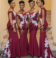 7da556781bb2c Maroon Lace Bridesmaid Dresses 2019 New African Style For Nigerian Maid Of Honor  Gowns Formal Wedding Party Guest Dress vestidos de fiesta