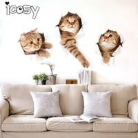 kedi odası dekor toptan satış-Icosy Buzdolabı Mıknatısları 3 ADET 3D Kediler Tasarım Çıkartması Sanat Duvar Çıkartmaları Odası Manyetik Ev Dekor Duvar Dekorasyon Buzdolabı Sticker