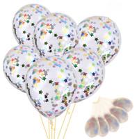 şişme süslemeler yıldızlar toptan satış-12 Inç Konfeti Balonlar Şişme Şeffaf Lateks Balon Doğum Günü Düğün Parti Dekorasyon Için Renkli Yıldız Krep Kağıt Dolgulu Balon