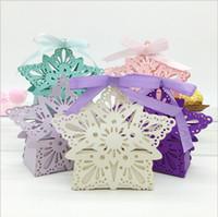 bebek duş şeritleri iyilikler toptan satış-Inci Kağıt Lazer Kesim Yıldız Şekli Çikolata Hediye Kutusu ile Mutil Renk Kurdele ile Bebek Duş Düğün Ambalaj Kutuları Şekerleri