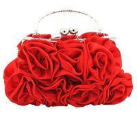 розовые женские сумочки оптовых-Women Satin Rose Pure Color Handbag Evening Bags Wedding Handbags