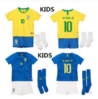 Wholesale Baby Boys Shorts - 2018 2019 Brazil Kids Soccer Jersey World Cup GIRLCOUTONHO NEYMAR JR camiseta de futbol Firmino MARCELO RONALDINHO BABY Football ShirtS