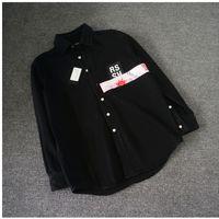 chaqueta de pasarela al por mayor-18ss RAF SIMMONS DENIM CHAQUETA camisa CINTA DE PVC CUANTO ANTES LOVE ROCKY STYLE LOng Sleeve JACKET Catwalk Show Producto HFLSJK231