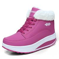 тепловая обувь оптовых-2018 женские сапоги зимние женские плюс бархат качели обувь платформа снегоступы женщины тепловой хлопок-мягкие ботинки плоские красные ботильоны для женщин