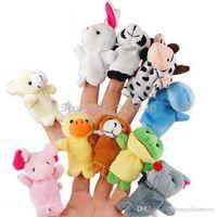 bauernhof zoo tier spielzeug großhandel-Wholesale-10pcs / Set Zoo Farm Animal Plüsch Handpuppen 2016 Neue Marke Finger Stofftier Baby Kinder Kinder Geburtstag Weihnachtsgeschenk