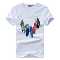 ingrosso maglia a manica v collo-JALEEMAN 2018 Estate The New Men T Shirt Manica corta con scollo a V Stampa Tshirt Marchio di moda Mens Cotone Cosy T-Shirt Maschile Top s-5xl