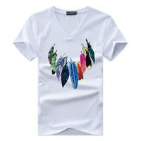 mode v cou t shirts hommes achat en gros de-JALEEMAN 2018 L'été Les Nouveaux Hommes T-shirt À Manches Courtes v Cou Imprimer T-shirt De Marque De Mode Hommes Coton T-Shirt Confortable Homme Tops S-5xl