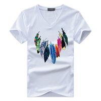 das v-shirt der männer großhandel-JALEEMAN 2018 Sommer Die Neue Männer T-shirt Kurzarm v-ausschnitt Drucken T-shirt Mode Marke Herren Baumwolle Gemütliche T-Shirt Männlichen Tops s-5xl