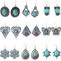 Wholesale feather dangle earrings - Bohemian Earrings Vintage Turquoise Earrings Owl Heart Flower Feather Dangle & Chandelier Long Earrings For Women Party Fashion Jewelry