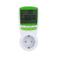 medidor de frecuencia de voltaje al por mayor-Vatímetro digital voltímetro medidor de potencia portátil 230 V 50 Hz LCD Vataje digital Corriente de voltaje Analizador de monitor de frecuencia
