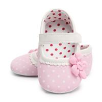 ingrosso scarpe da prua dentellare-Pink First Walkers Newborn Shoes Cotton Flower Bambina Scarpe Polka Dot Toddler Culla antiscivolo Mocassini 0-18 Mesi