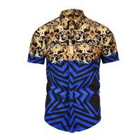 yeni moda 3d kısa elbiseler toptan satış-2018 Yepyeni Lüks Erkekler Gömlek erkek Moda Elbise Gömlek Casual kısa Kollu Pamuk Kısa Gömlek Tasarımcı 3D