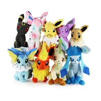 "Wholesale Flareon Plush - 9pcs Lot Leafeon Umbreon Espeon Jolteon Vaporeon Flareon Eevee Sylveon Soft Doll Plush Toy For Kids Christmas Halloween Best Gifts 8"" 20cm"