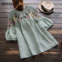Wholesale Flower Blouse Puff Sleeves - Mferlier Mori Girl Summer Retro Half Sleeve Blouses O Neck Flower Embroidery Pleated Puff Sleeve Women Blouses