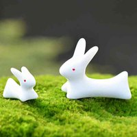 ingrosso piccolo giardino paesaggistico-Bianco Coniglio Giada Zakka Stoviglie Bacchette Moss Micro Paesaggio Resina Artigianato Vaso da fiori Decorazione Piccolo Ornamento FAI DA TE Fata Giardino