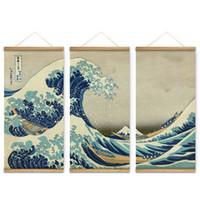 grandes pinturas de lienzo al por mayor-3 Unids Estilo de Japón La gran ola de Kanagawa Decoración Arte de la pared Imágenes Lienzo Colgante de madera Pinturas de desplazamiento para la sala de estar