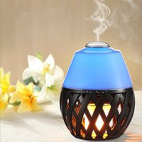 Wholesale aroma decoration - Led Flame Light Atmosphere Lamp with Ultrasonic Aroma Air Diffuser LED Color Changing Air Humidifier Dancing Flame Lighting Decoration Lamp