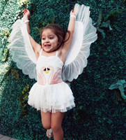 Wholesale Swan Tutu Dress - 2018 Ins Girl Swan Wings Tutu Dress 1 piece Children Performance Dresses Kids Birthday gifts Spaghetti with Detachable Wings Drop shipping